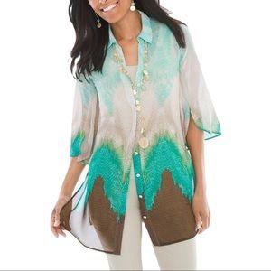 CHICO'S | Sheer Bahama Breeze Super Tunic Watercolor Button Down Blouse